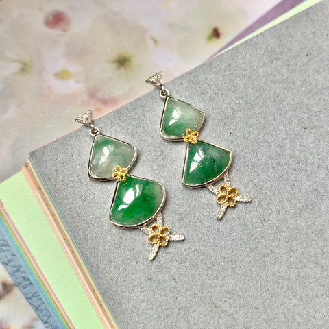A-Grade Natural Jadeite Dangling Earring (18k Gold and Diamonds) No.180339