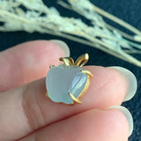 SOLD OUT: Icy A-Grade Natural Jadeite Apple Pendant (18k Champagne Gold) No.170714