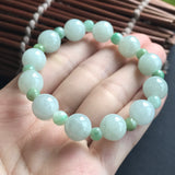 SOLD OUT: 10mm/5mm A-Grade Type A Natural Green Jadeite Jade Beaded Bracelet No.190031