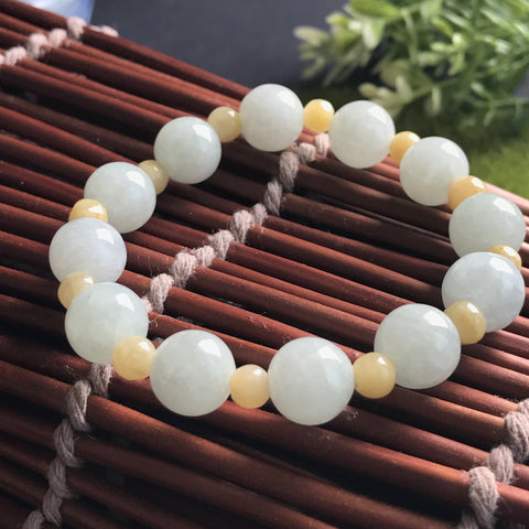 SOLD OUT: 10mm/5mm A-Grade Type A Natural Green and Yellow Jadeite Jade Beaded Bracelet No.190033
