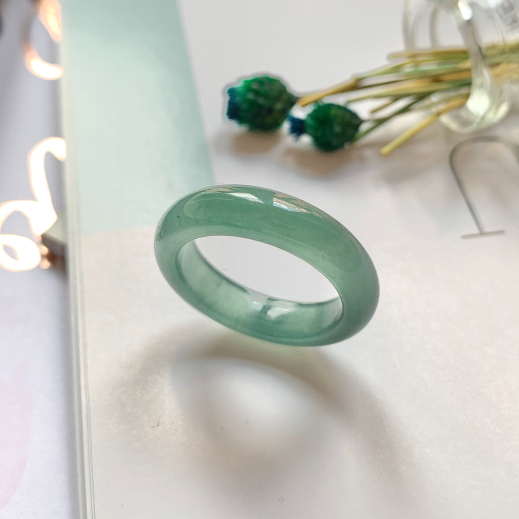 A-Grade Natural Bluish Green Jadeite Abacus Ring Band No.161515