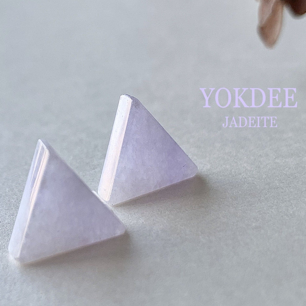 6.45ct A-Grade Natural Lavender Jadeite Triangle Pair No.180252