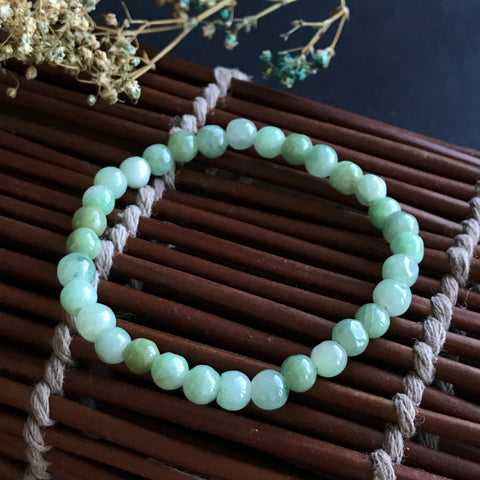 SOLD OUT: 5mm A-Grade Type A Natural Jadeite Jade Beaded Bracelet No.190030