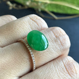 Emerald Green A-Grade Type A Natural Jadeite Jade Oval Cabochon Piece No.25060