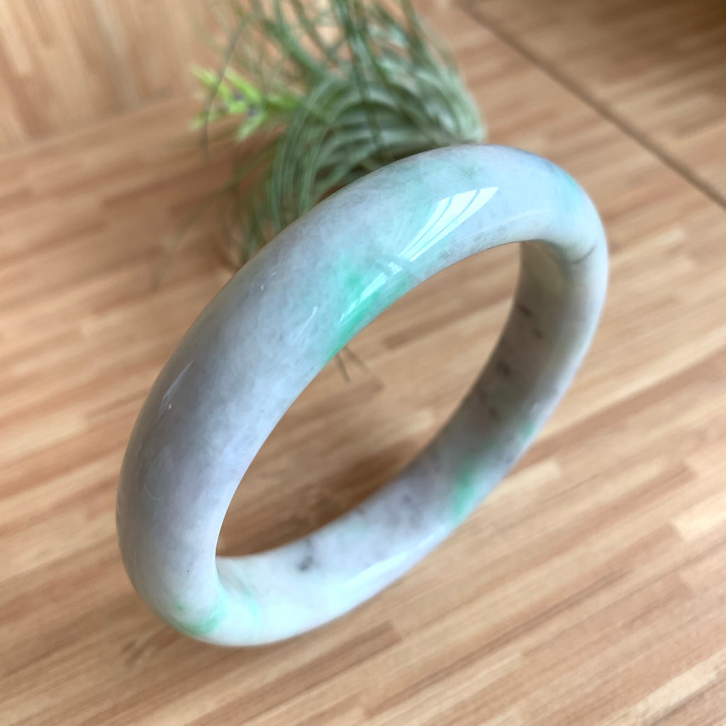 58.1mm A-Grade Natural Lavender Green Jadeite Modern Round Bangle No.330007