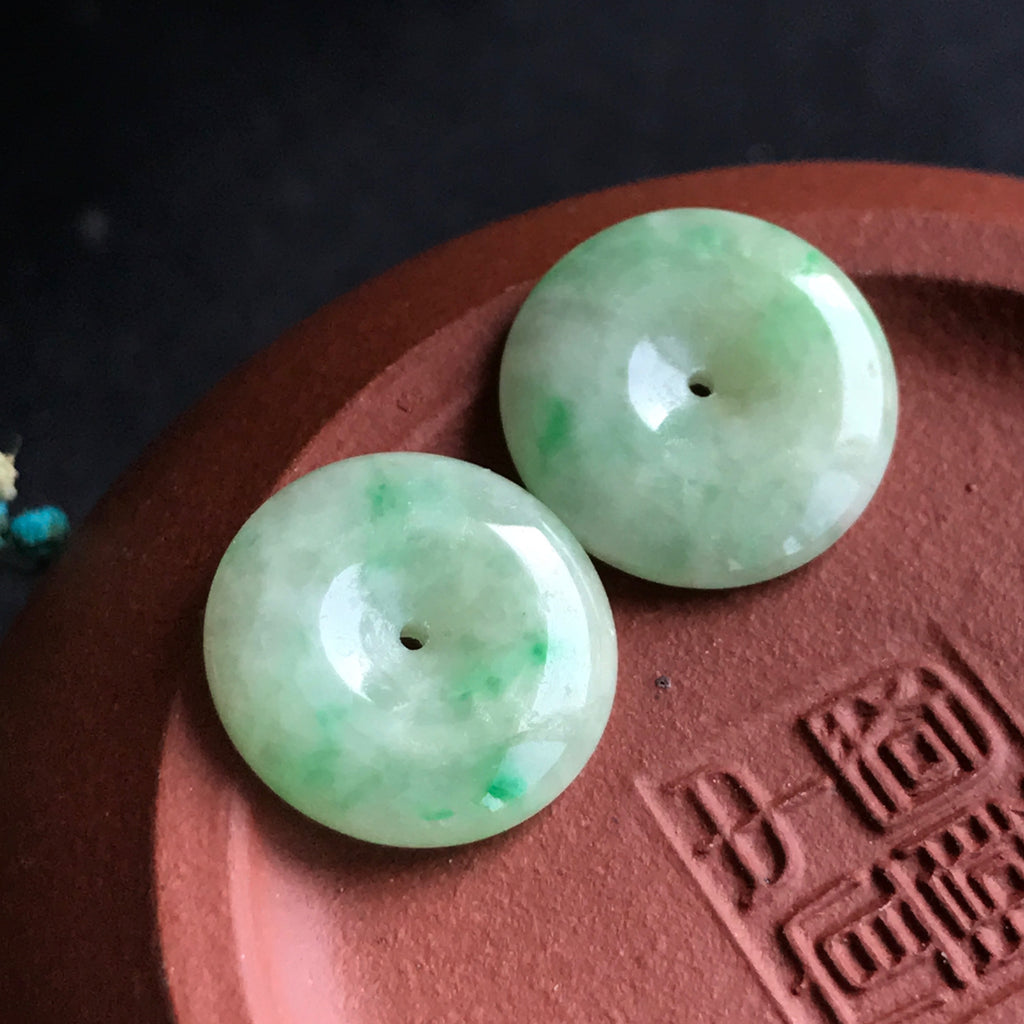 SOLD OUT: A-Grade Type A Natural Green Jadeite Jade Donut Earrings No.180029