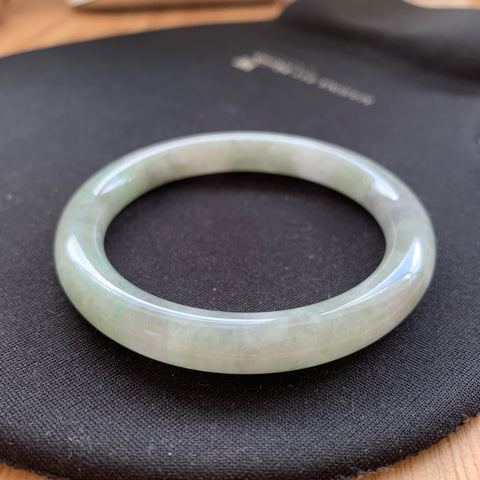 52.3mm A-Grade Natural Lavender Green Jadeite Traditional Round Bangle No.330009