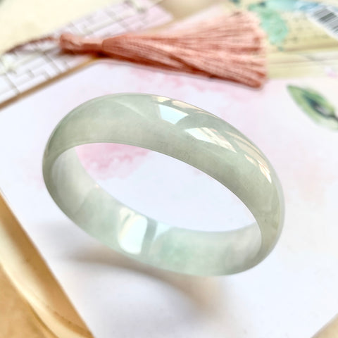 51.2mm A-Grade Natural Light Green Jadeite Modern Round Bangle No.151740