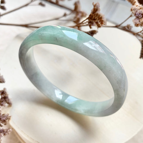53.9mm A-Grade Natural Moss On Snow Jadeite Modern Round Bangle (Right-Angle) No.151731