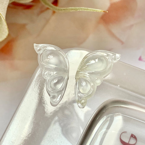 SOLD OUT: 3ct Icy A-Grade Natural Jadeite Butterfly Wings Pair No.171536