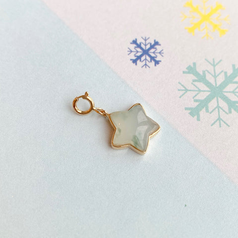 Icy A-Grade Natural Jadeite Star Charm (18k Champagne Gold) No.170704