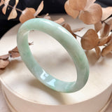 SOLD OUT: 52.1mm A-Grade Natural Green Jadeite Modern Round Bangle No.151737