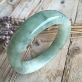 SOLD OUT: 51.3mm A-Grade Type A Jadeite Jade Modern Round Bangle No.151361