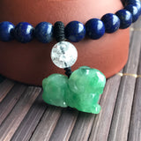 SOLD OUT: A-Grade Type A Natural Jadeite Jade Goat Pendant with Lapis Lazuli Beaded Bracelet No.190036