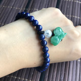 A-Grade Type A Natural Jadeite Jade Goat Pendant with Lapis Lazuli Beaded Bracelet No.190036