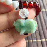 SOLD OUT: A-Grade Type A Natural Jadeite Jade Pig Pendant with Red and White Agate Beaded Bracelet No.190037