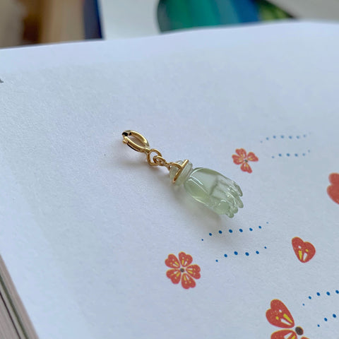 SOLD OUT: Icy A-Grade Natural Jadeite Pearl in Palm Charm No.170711