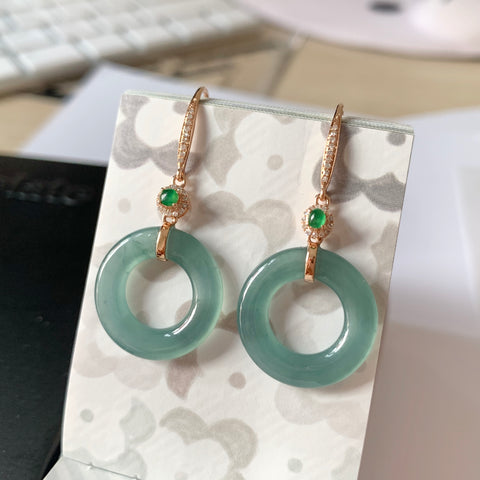A-Grade Natural Blue-Green Jadeite Bespoke Earring No.171257