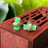 SOLD OUT: Icy Green A-Grade Type A Natural Jadeite Jade Semi-cylinder Stud Earrings (18k White Gold with Diamonds) No.180031