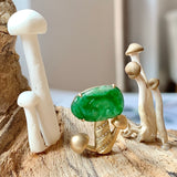 A-Grade Natural Green Jadeite Mushroom Pendant No (18K Champagne Gold With Diamonds).171289