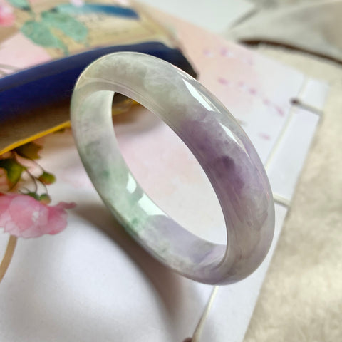 49.4mm A-Grade Natural Lavender And Green Jadeite Modern Oval Bangle No.151724