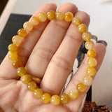SOLD OUT: 6.8mm A-Grade Natural Yellow Jadeite Beaded Bracelet No.190275