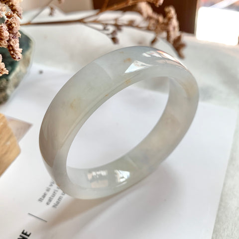 54.2mm A-Grade Natural Jadeite Modern Round Bangle (Right-Angle) No.151730