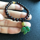A-Grade Type A Natural Jadeite Jade Goat Pendant with Red Garnet Beaded Bracelet No.190038