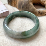 54.3mm A-Grade Natural Green Jadeite Modern Round Bangle No.151727