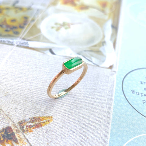 SOLD OUT: A-Grade Natural Green Jadeite Saddle Ring (18k Champagne Gold) No.161366