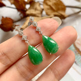 SOLD OUT: A-Grade Natural Green Jadeite Pear Shape Dangling Earring (18k White Gold and Diamonds) No.180175