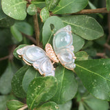 SOLD OUT: Icy A-Grade Type A Jadeite Jade Butterfly Brooch Pendant No.170007