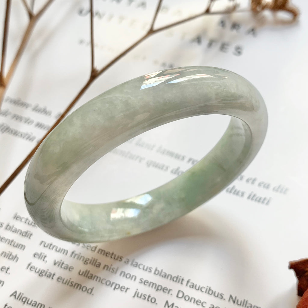 SOLD OUT: 52.4mm A-Grade Natural Green And Purple Jadeite Modern Round Bangle No.151728