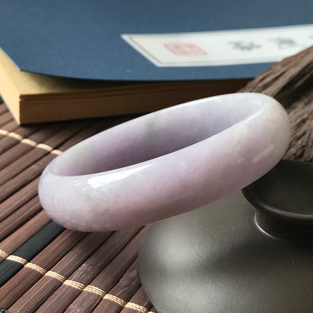 SOLD OUT: 52.6mm A-Grade Type A Natural Lavender Jadeite Jade Modern Round Bangle No.151394