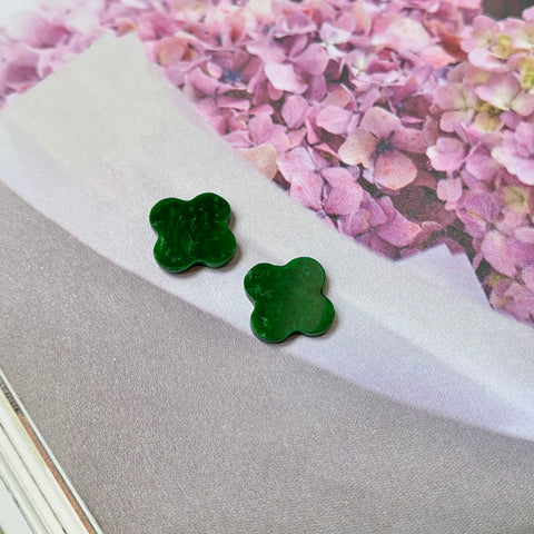 4.15ct A-Grade Natural Imperial Green Jadeite Clover Pair No.180238