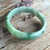 57.5mm A-Grade Type A Jadeite Jade Modern Round Bangle No.151221