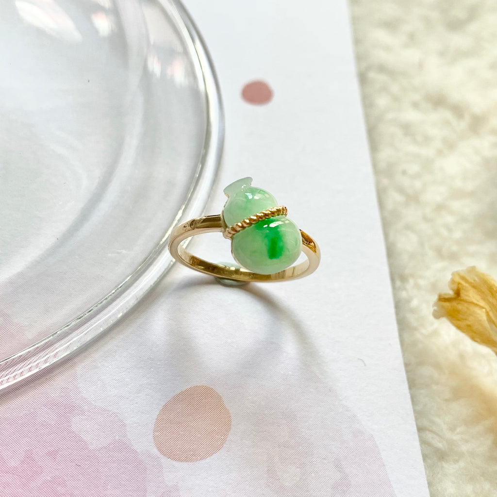 A-Grade Natural Moss On Snow Calabash Jadeite Bespoke Ring (18K Champagne Gold) No.130193