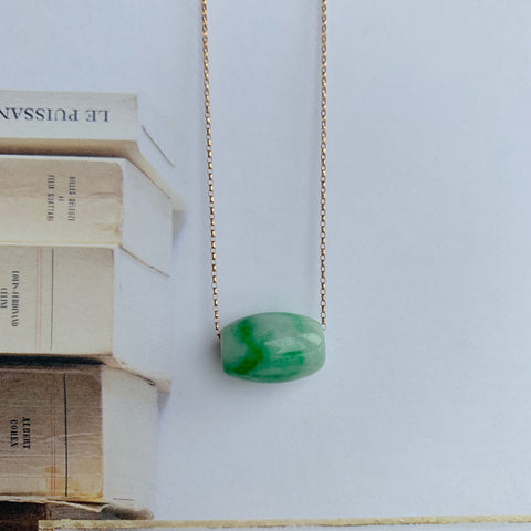 A-Grade Natural Moss on Snow Jadeite Barrel Pendant No.170727