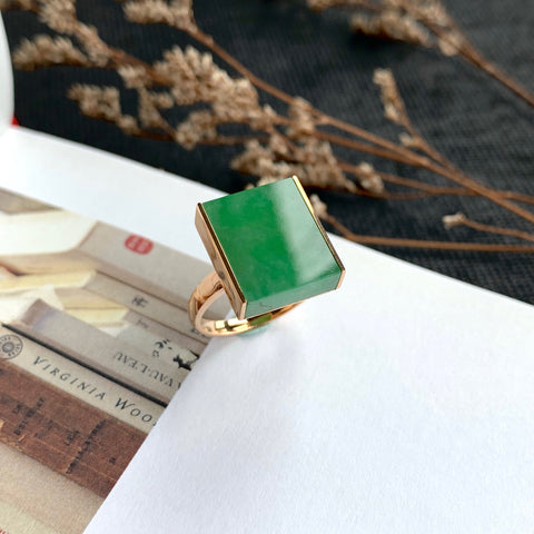 A-Grade Natural Imperial Green Jadeite Bespoke Ring (18k Rose Gold) No.161368