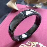 56.1mm A-Grade Natural Black Jadeite Modern Round Bangle (Right-Angle) No.151733