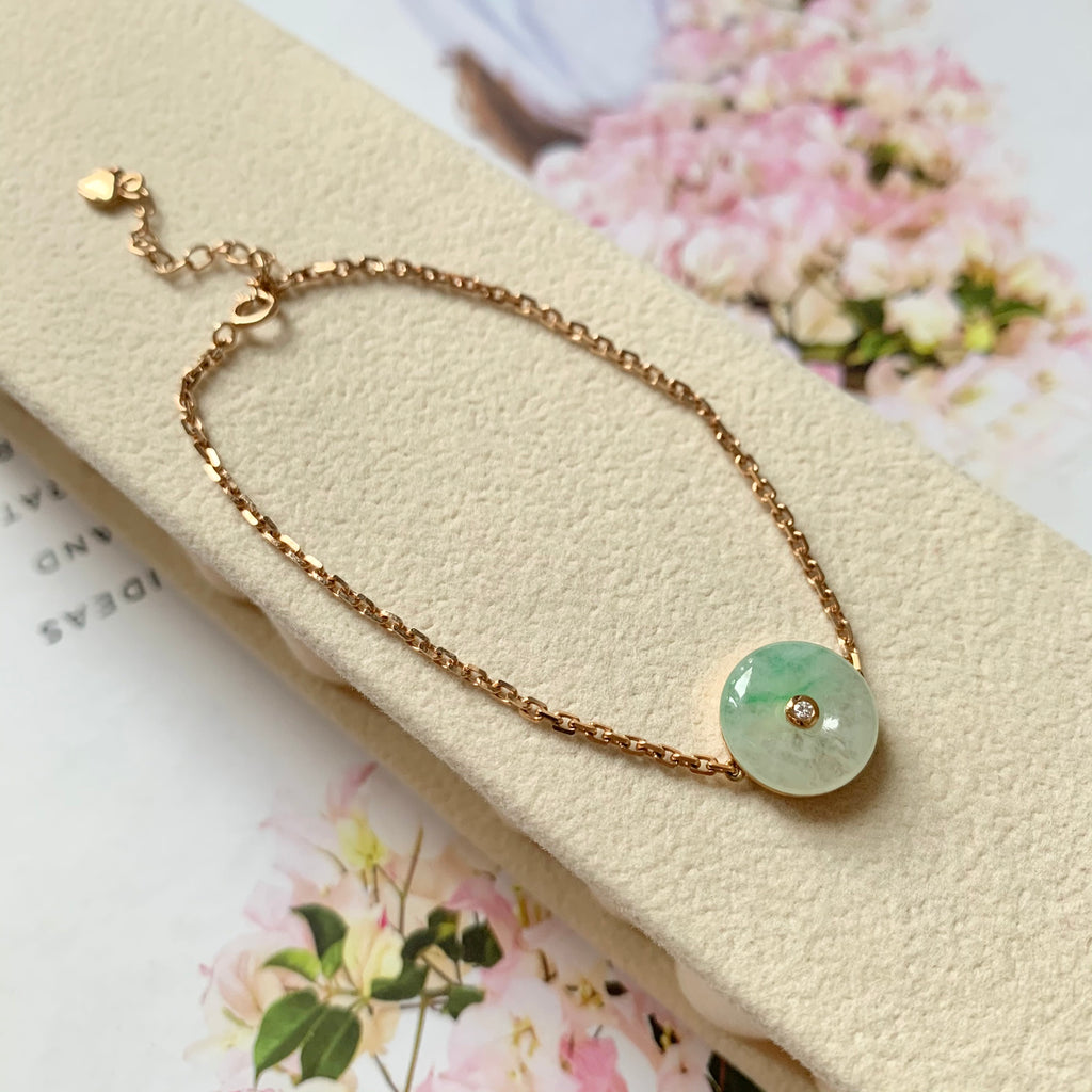 A-Grade Natural Jadeite Bespoke Donut Bracelet (18k Rose Gold with Diamond) No.190180
