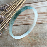 SOLD OUT: 50.1mm Icy A-Grade Type A Jadeite Jade Modern Round Right Angle Bangle No.151367