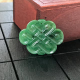 Imperial Green A-Grade Type A Natural Jadeite Jade Eternity Knot Pendant No.170252