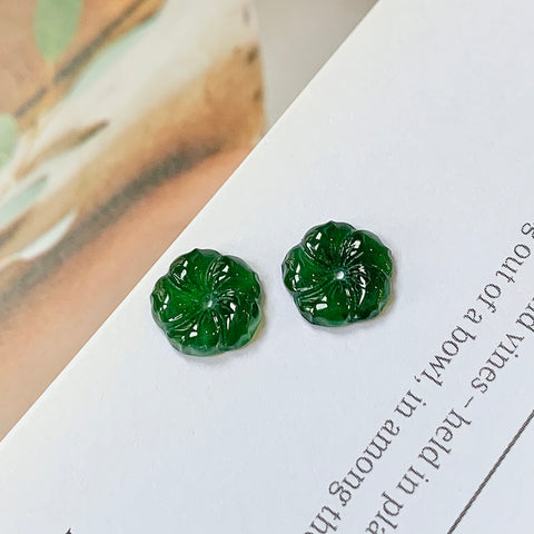 A-Grade Natural Green Jadeite Hibiscus Pair No.180329