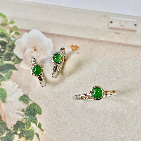 A-Grade Jadeite Imperial Green Cabochon Bespoke Ring and Earring Set