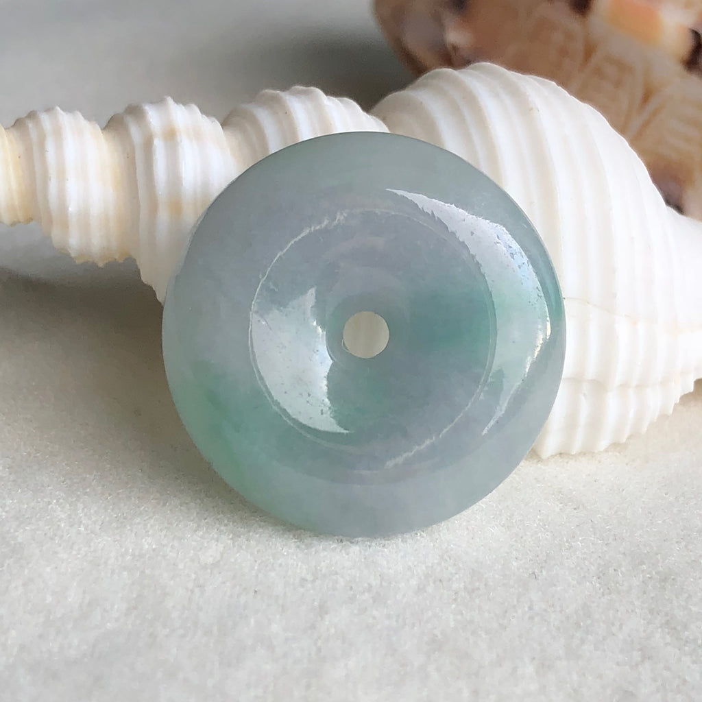 SOLD OUT: A-Grade Type A Natural Pastel Lavender Green Jadeite Jade Donut Pendant No.170502