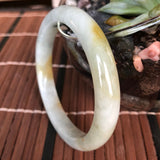 SOLD OUT: 55.1mm A-Grade Type A Natural Green and Yellow Jadeite Jade Modern Round Bangle No.151491