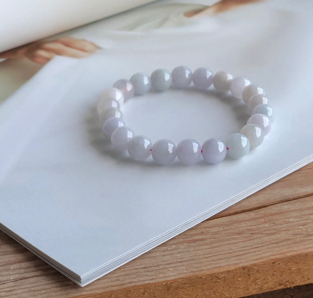 SOLD OUT: 9.1mm A-Grade Type A Natural Lilac/Floral/Yellow Jadeite Jade Beaded Bracelet No.190085