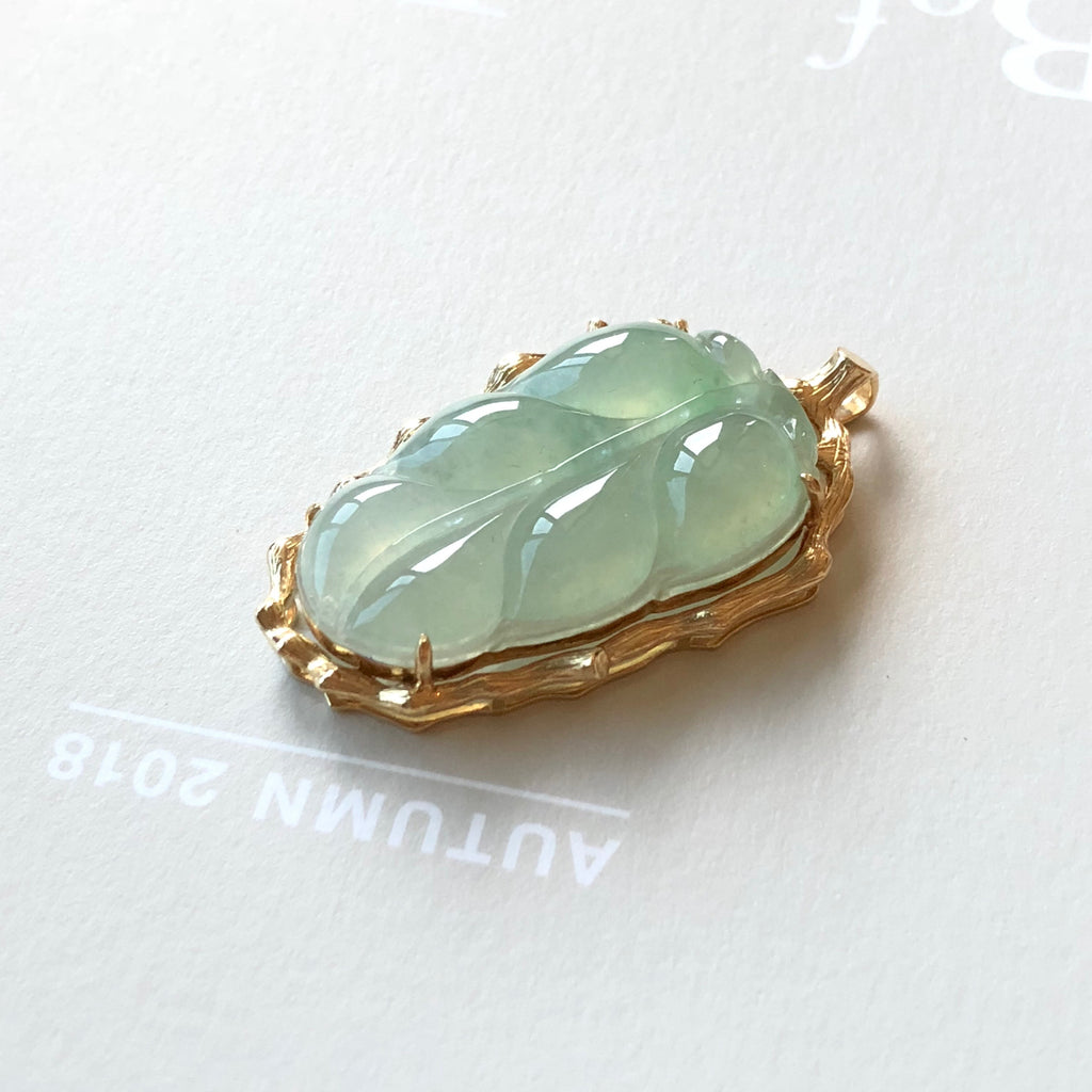 Icy A-Grade Type A Natural Green Jadeite Jade Leaf (Tree Branches) Pendant (18k Champagne Gold) No.170525