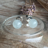 SOLD OUT: Icy A-Grade Type A Jadeite Jade 8mm Ball Earrings No.180012
